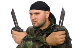 Young man in soldier uniform holding knife Royalty Free Stock Image