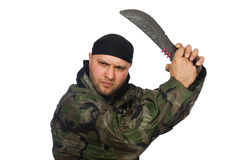 Young man in soldier uniform holding knife Stock Images