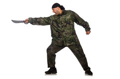 Young man in soldier uniform holding knife Royalty Free Stock Photography