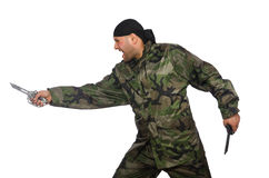 Young man in soldier uniform holding knife Royalty Free Stock Images