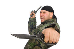 Young man in soldier uniform holding knife Royalty Free Stock Photo