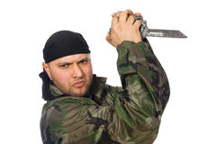 Young man in soldier uniform holding knife Stock Photos