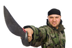 Young man in soldier uniform holding knife Stock Photography