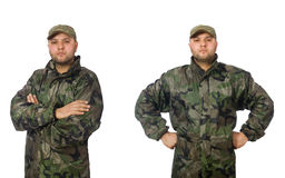 The young man in soldier uniform isolated on white Stock Photo