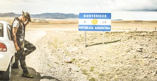 Young man solo traveler at relax break near argentinian border. Young man solo traveler at argentinian border in south america Patagonia - Adventure wanderlust stock photos