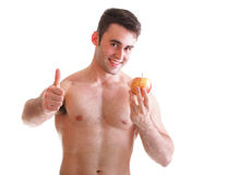 Young man with some fresh red apple isolated. On white Royalty Free Stock Photo