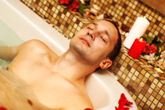 Young man in spa Stock Photo