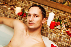 Young man in spa Stock Photography