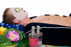Young man spa center Stock Photography
