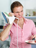 Young man speaking on the phone Stock Photo