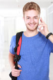 Young man speaking on the phone Stock Image