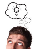 Young man with Speech Bubbles over his head Stock Image