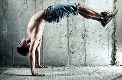 Young Man Sports Exercises Stock Photography