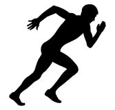Young man sprinter. Fast start and running black silhouette Royalty Free Stock Image