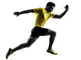 Young man sprinter runner running silhouette. One caucasian man young sprinter runner running in silhouette studio on white background royalty free stock photos