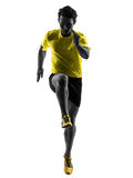 Young man sprinter runner running silhouette stock image