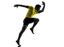 Young man sprinter runner running silhouette Stock Image