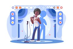 Young man stand up performing on stage poster. Cartoon character afro-american boy on standup show flat style vector illustration. Entertainment leisure time royalty free illustration