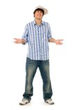 Young man standing. And gesturing Stock Image