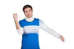 Young man standing with cervical collar. Royalty Free Stock Photography
