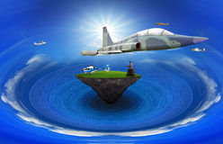 Young man standing on floating island with air plane flying abov Royalty Free Stock Images