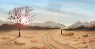 Young man standing and looking in desert landscape, digital painting royalty free illustration