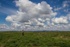 Young man at the steppe, Kazakhstan Stock Photo