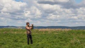 Young man at the steppe, Kazakhstan Stock Photos