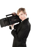Young man with stereo player Royalty Free Stock Images
