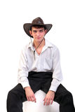 Young man in stetson hat. Man portrait in the studio in the stetson hat Stock Image