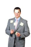 A young man with stickers Royalty Free Stock Images