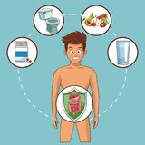 Stomach ache cartoons. Young man with stomach ache cartoons vector illustration graphic design vector illustration