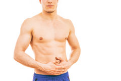 Young Man with stomach pain royalty free stock images