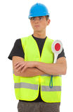 Young man in with stopping sign Royalty Free Stock Image