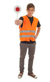 Young man with stopping sign Stock Photography