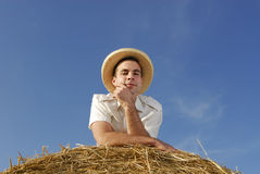 Young man with straw hat Royalty Free Stock Photo