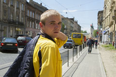 Young man on the street. Stock Photo