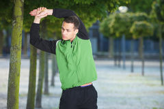 Young Man Stretching Stock Photography