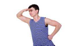 Young man in a striped vest T-shirt Royalty Free Stock Photo