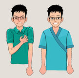Young man with strong heart attack. Vector illustration. royalty free illustration
