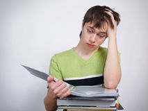 The young man the student with books. Royalty Free Stock Image