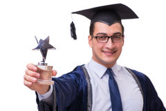 The young man student graduating isolated on white. Young man student graduating isolated on white Stock Photos