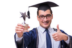 The young man student graduating isolated on white. Young man student graduating isolated on white Stock Photo