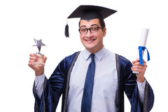 The young man student graduating isolated on white. Young man student graduating isolated on white Stock Images