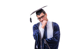 The young man student graduating isolated on white. Young man student graduating isolated on white Royalty Free Stock Image