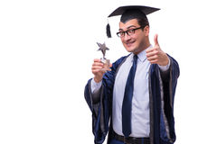 The young man student graduating isolated on white. Young man student graduating isolated on white Royalty Free Stock Images
