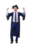 The young man student graduating isolated on white. Young man student graduating isolated on white Stock Photography