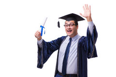 The young man student graduating isolated on white. Young man student graduating isolated on white Royalty Free Stock Photography