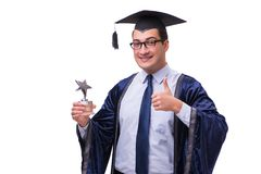 The young man student graduating isolated on white. Young man student graduating isolated on white Stock Image