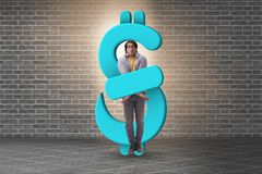 The young man in student loan and debt concept. Young man in student loan and debt concept royalty free stock image